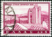 "GREECE - CIRCA 1961: A stamp printed in Greece from the ""Tourist Publicity"" issue shows Temple of Olympian Zeus, Athens, circa 1961. — Stock Photo"