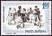 """ROMANIA - CIRCA 1965: A stamp printed in Romania from the """"Romanian folk dancing"""" issue shows Banat, circa 1965. — Stockfoto"""