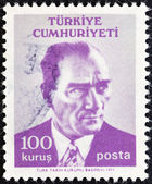 TURKEY - CIRCA 1971: A stamp printed in Turkey shows a portrait of Kemal Ataturk, circa 1971. — Stock Photo