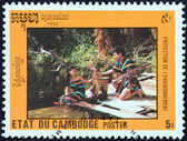 "CAMBODIA - CIRCA 1992: A stamp printed in Cambodia from the ""Environmental Protection "" issue shows couple on riverside, circa 1992. — Stock Photo"