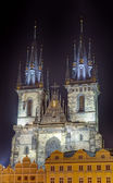 Church of Our Lady Before Tyn at night, Prague, Czech Republic — Stockfoto