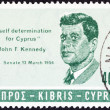 CYPRUS - CIRCA 1965: A stamp printed in Cyprus issued in Memorial of J.F.Kennedy shows J.F.Kennedy, circa 1965. — Stock Photo