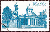 "SOUTH AFRICA - CIRCA 1982: A stamp printed in South Africa from the ""South African Architecture"" issue shows Raadsaal, Bloemfontein, circa 1982. — Zdjęcie stockowe"