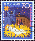 "NEW ZEALAND - CIRCA 1987: A stamp printed in New Zealand from the ""Christmas "" issue shows Away in a Manger, circa 1987. — Stok fotoğraf"