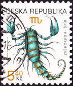 "CZECH REPUBLIC - CIRCA 1998: A stamp printed in Czech Republic from the ""Signs of the Zodiac"" issue shows Scorpio, circa 1998. — Stock Photo"