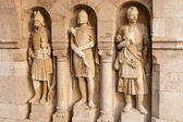 Knight sculptures in Fisherman Bastion, Budapest, Hungary — Stock Photo