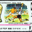 """NORTH KOREA - CIRCA 1978: A stamp printed in North Korea from the """"World Cup Football Championship Winners """" issue shows West Germany, 1954, 1974, circa 1978. — Stock Photo #41656253"""