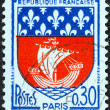 "Stock Photo: FRANCE - CIRC1965: stamp printed in France from ""Arms of French Towns 4th Series"" issue shows Paris coat of Arms, circ1965."
