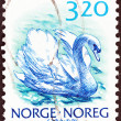"NORWAY - CIRCA 1988: A stamp printed in Norway from the ""Wildlife"" issue shows a Mute swan, circa 1988. — Stock Photo"
