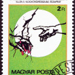 Stock Photo: HUNGARY - CIRC1985: stamp printed in Hungary issued for 5th Congress of International Association of Physicians against Nuclear War, Budapest shows Hand pointing to Cracked Earth, circ1985.