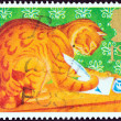 "UNITED KINGDOM - CIRCA 1994: A stamp printed in United Kingdom from the ""Greetings Stamps "" issue shows Orlando the Marmalade Cat, circa 1994. — Stock Photo"