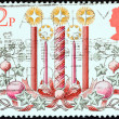 "UNITED KINGDOM - CIRCA 1980: A stamp printed in United Kingdom from the ""Christmas"" issue shows Christmas Candles, circa 1980. — Stock Photo"