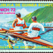 "Stock Photo: EQUATORIAL GUINE- CIRC1972: stamp printed in Equatorial Guinefrom ""Olympic games, Munich"" issue shows rowing (pair sweep-oar), circ1972."