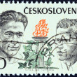 """CZECHOSLOVAKIA - CIRCA 1973: A stamp printed in Czechoslovakia from the """"Czechoslovak Martyrs during World War II"""" issue shows Evzen Rosicky and Mirko Nespor, circa 1973. — Stock Photo #42054643"""