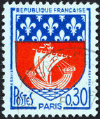 "FRANCE - CIRCA 1965: A stamp printed in France from the ""Arms of French Towns 4th Series"" issue shows Paris coat of Arms, circa 1965. — Stock Photo"