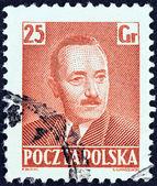 POLAND - CIRCA 1950: A stamp printed in Poland shows President Boleslaw Bierut, circa 1950. — 图库照片