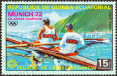 "EQUATORIAL GUINEA - CIRCA 1972: A stamp printed in Equatorial Guinea from the ""Olympic games, Munich"" issue shows rowing (pair sweep-oar), circa 1972. — Stock Photo"
