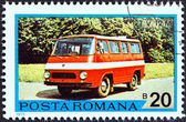 "ROMANIA - CIRCA 1975: A stamp printed in Romania from the ""Romanian Motor Vehicles"" issue shows a T.V. 12M Minibus, circa 1975. — Foto de Stock"