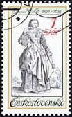 "CZECHOSLOVAKIA - CIRCA 1983: A stamp printed in Czechoslovakia from the ""Period Costumes from Old Engravings"" issue shows lady with Muff (Jacques Callot), circa 1983. — Stock Photo"