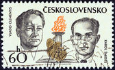 """CZECHOSLOVAKIA - CIRCA 1973: A stamp printed in Czechoslovakia from the """"Czechoslovak Martyrs during World War II"""" issue shows Vlado Clementis and Karol Smidke, circa 1973. — Stock Photo"""