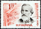 "ROMANIA - CIRCA 1963: A stamp printed in Romania from the ""Cultural Anniversaries"" issue shows Giuseppe Verdi (composer, 150th birth anniversary), circa 1963. — Stock Photo"