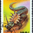 "TANZANIA - CIRCA 1994: A stamp printed in Tanzania from the ""Prehistoric Animals "" issue shows Stiracosaurus, circa 1994. — Stock Photo #42500945"
