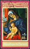 "BURUNDI - CIRCA 1972: A stamp printed in Burundi from the ""Christmas "" issue shows Madonna and Child (Lorenzo Lotto), circa 1972. — Photo"