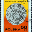 "POLAND - CIRCA 1977: A stamp printed in Poland from the ""Stamp Day. Polish Coins "" issue shows Silver Dinar (11th century), circa 1977. — Stock Photo"