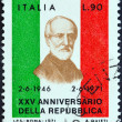 ITALY - CIRCA 1971: A stamp printed in Italy from the issued for the 25th anniversary of Republic shows Giuseppe Mazzini, circa 1971. — Stock Photo #42943295