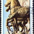 "ITALY - CIRCA 1973: A stamp printed in Italy from the ""Save Venice Campaign "" issue shows Bronze horses, St. Mark's Basilica, circa 1973. — Stock Photo"