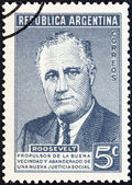 ARGENTINA - CIRCA 1946: A stamp printed in Argentina issued for the death anniversary of President Roosevelt shows USA President Franklin Roosevelt, circa 1946. — Stock Photo