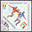 "HUNGARY - CIRCA 1982: A stamp printed in Hungary from the ""World Cup Football Championship, Spain "" issue shows Italy v. Hungary, 1938, circa 1982. — Stock Photo #43109375"