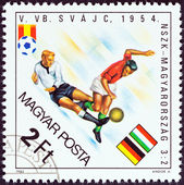"HUNGARY - CIRCA 1982: A stamp printed in Hungary from the ""World Cup Football Championship, Spain "" issue shows West Germany v. Hungary, 1954, circa 1982. — Photo"