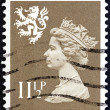 UNITED KINGDOM - CIRCA 1981: A stamp printed in Scotland shows Queen Elizabeth II and Royal Arms of Scotland, circa 1981. — Stock Photo