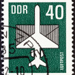 GERMAN DEMOCRATIC REPUBLIC - CIRCA 1982: A stamp printed in Germany shows Aircraft and Envelope, circa 1982. — Stock Photo