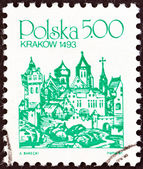"POLAND - CIRCA 1981: A stamp printed in Poland from the ""Towns "" issue shows Cracow, 1493, circa 1981. — Stock Photo"