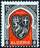 "ALGERIA - CIRCA 1947: A stamp printed in Algeria from the ""Various Arms"" issue shows Algiers arms, circa 1947. — Stock Photo"