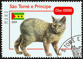 "SAO TOME AND PRINCIPE - CIRCA 2004: A stamp printed in Sao Tome and Principe from the ""Cats "" issue shows Manx, circa 2004. — Stock Photo"