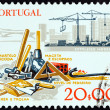 "PORTUGAL - CIRCA 1978: A stamp printed in Portugal from the ""Development of Working Tools "" issue shows hand tools and building sit, circa 1978. — Stock Photo"