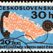 CZECHOSLOVAKIA - CIRCA 1973: A stamp printed in Czechoslovakia issued for the 20th anniversary of nationwide telephone system shows Map and telephone, circa 1973. — Stock Photo