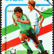 "CUBA - CIRCA 1989: A stamp printed in Cuba from the ""World Cup Football Championship, Italy 1990 "" issue shows footballers, circa 1989. — Stock Photo"