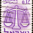 "ISRAEL - CIRCA 1961: A stamp printed in Israel from the ""Signs of the Zodiac"" issue shows the Scales (Libra), circa 1961. — Stock Photo"