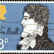 "UNITED KINGDOM - CIRCA 1971: A stamp printed in United Kingdom from the ""Literary Anniversaries"" issue shows John Keats (150th death anniversary), circa 1971. — Stock Photo #44258139"