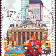 UNITED KINGDOM - CIRCA 1983: A stamp printed in United Kingdom issued for the 350 Years of Royal Mail Public Postal Service shows Datapost Motorcyclist, City of London, circa 1983. — Stock Photo