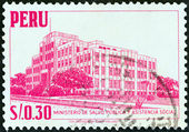 PERU - CIRCA 1952: A stamp printed in Peru shows Ministry of Public Health and Social Assistance, circa 1952. — Stock Photo