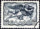 "GREECE - CIRCA 1943: A stamp printed in Greece from the ""Airmail - Greek Mythology. Winds "" issue shows Boreas (North wind), circa 1943. — Stock Photo"