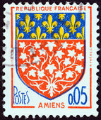 "FRANCE - CIRCA 1962: A stamp printed in France from the ""Arms of French Towns 4th Series"" issue shows Amiens coat of Arms, circa 1962. — Stock Photo"
