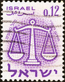 "ISRAEL - CIRCA 1961: A stamp printed in Israel from the ""Signs of the Zodiac"" issue shows the Scales (Libra), circa 1961. — Zdjęcie stockowe"