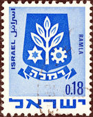 "ISRAEL - CIRCA 1969: A stamp printed in Israel from the ""Civic Arms (2nd series)"" issue shows coat of Arms of Ramla, circa 1969. — Stock Photo"