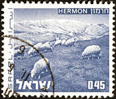 "ISRAEL - CIRCA 1971: A stamp printed in Israel from the ""Landscapes "" issue shows Mount Hermon, circa 1971. — Stock Photo"